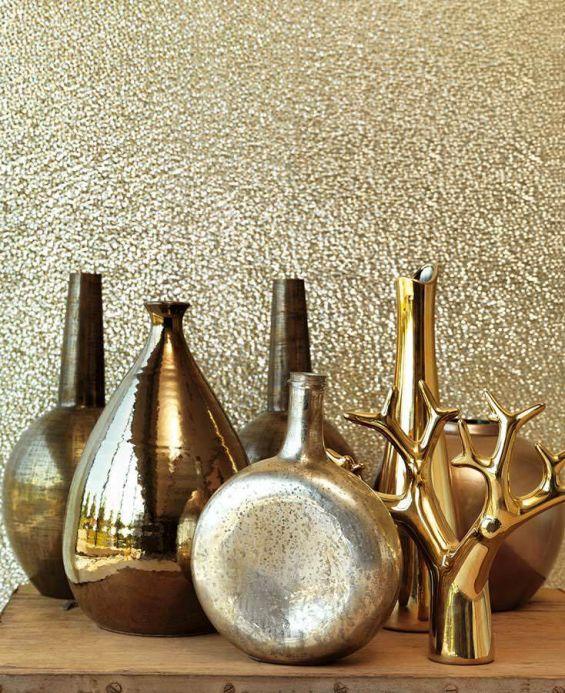 Papier peint métallique Papier peint Kewan doré lustre Vue pièce