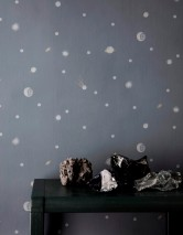 Papier peint Moon Mat Lune Planètes Ciel étoilé Gris Gris clair  Or nacré