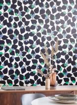 Papier peint Taimi Mat Feuilles stylisées Blanc gris Noir  Vert turquoise