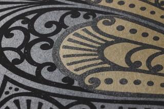 Papier peint Astoria Mat Damassé art nouveau Gris foncé nacré Or nacré Noir  Noir brillant