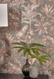 Papier peint Alenia brun cuivré chatoyant