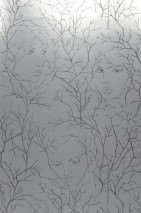 Wallpaper Wakanee Shiny Metallic effect Faces Branches Silver Black grey
