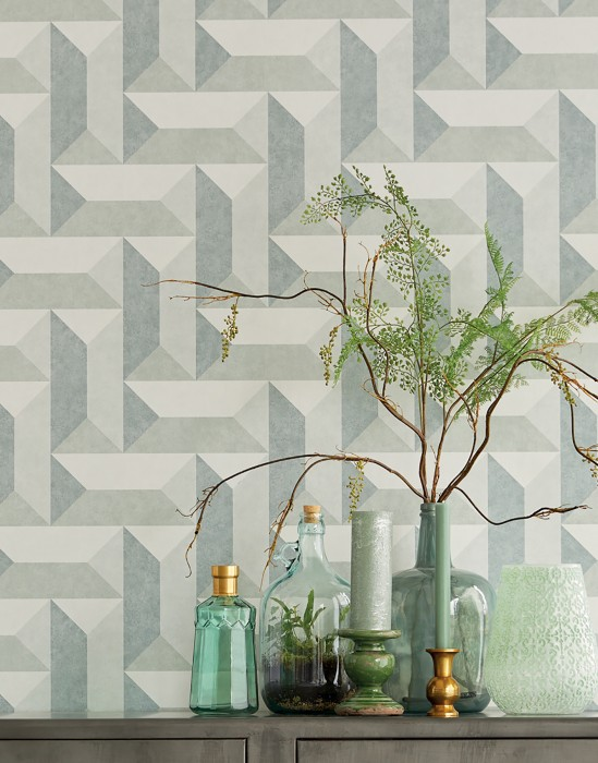Wallpaper Rekel Matt Geometrical elements Agate grey Blue grey Moss grey White