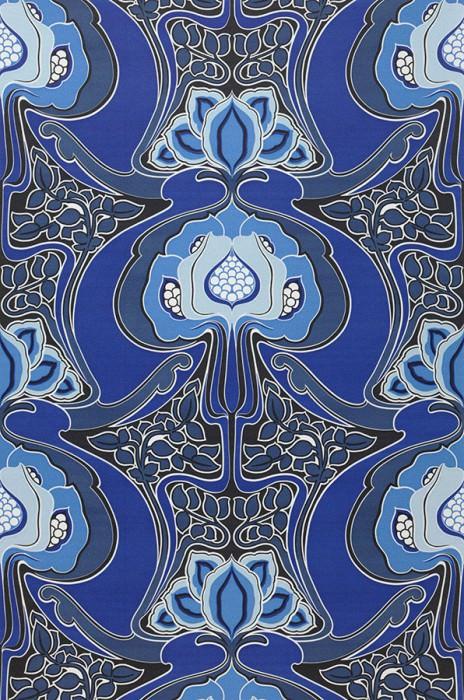 Papier peint Tereza Mat Design rétro Fleurs stylisées Noir Bleu pâle Bleu brillant Bleu gris Bleu outremer Blanc