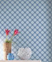 Wallpaper Camella Hand printed look Matt Floral damask Brilliant blue White