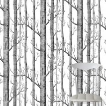 Papel pintado Birch Forest Mate Árboles Blanco Negro