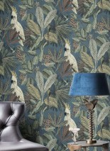Wallpaper Sahra Matt Leaves Fruits Butterflies Birds Blue Green Pale green Dark brown Green beige Moss grey Rosewood