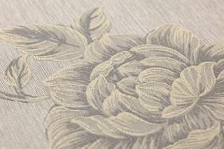 Wallpaper Evangeline Shimmering Flower tendrils Beige grey Grey