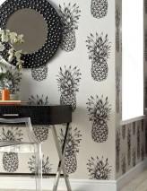 Papel pintado Pineapple Paradise Mate Piña Blanco grisáceo Gris negruzco