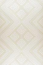 Carta da parati Yamuna Brillante Elementi geometrici Bianco perlato Bianco crema Dorato opaco