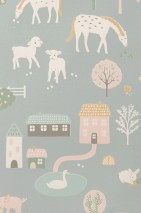 Wallpaper My Farm Hand printed look Matt Trees Buildings Rabbits Cows Cute Little Chicks Horses Sheep Pigs Cement grey Cream Shades of green Light pink Maize yellow