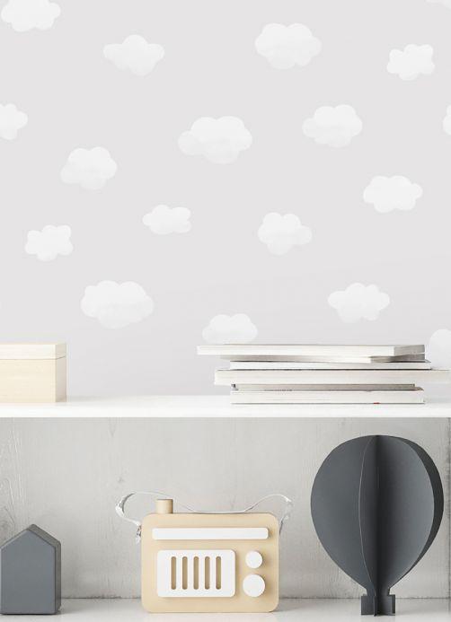 Papier peint traditionnel Papier peint Colette gris clair  Vue pièce