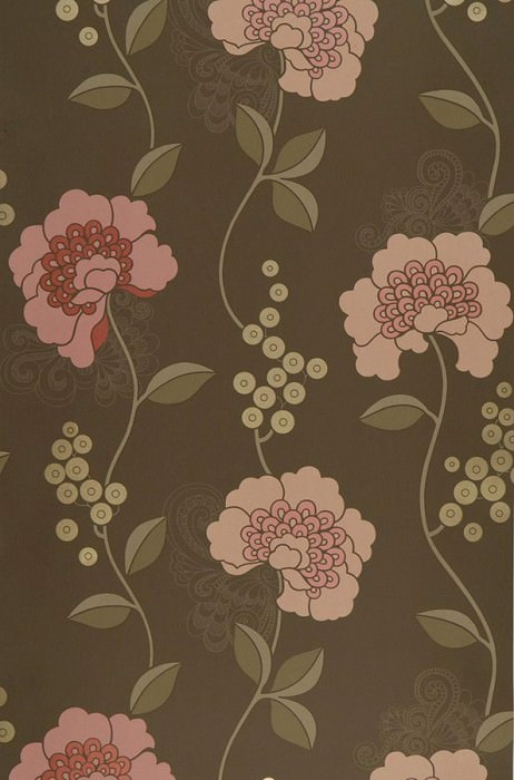 Wallpaper Mimir Matt Flowers Sepia brown Brown beige Gold lustre Rose