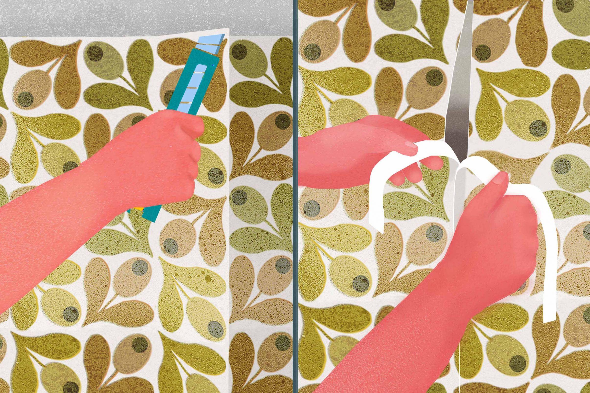 Como-aplicar-papel-de-parede-ao-redor-de-janelas-e-portas-Remover-a-sobra-com-um-corte-de-costura-dupla