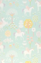Wallpaper True Unicorns Hand printed look Matt Trees Flowers Unicorns Light green Beige red Cream Yellow green Pastel violet Lemon yellow