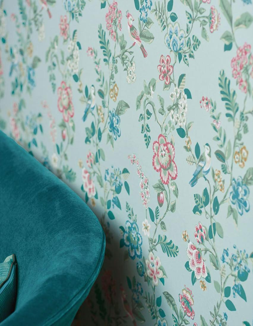 Papel pintado miri turquesa pastel beige azul verde for Papel pintado azul turquesa