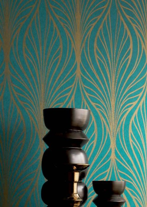 Wallpaper Pemba Matt Modern damask Turquoise blue Gold