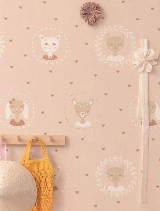Papel pintado de diseño Papel pintado Hearts rosa pálido Ver habitación