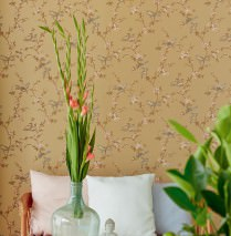 Wallpaper Thelma Hand printed look Matt Birds Branches with leaves and blossoms Pearl gold Blue Green Brown beige Salmon orange Reed green