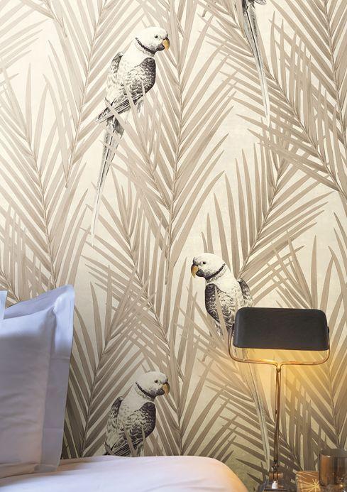 Papel pintado moderno Papel pintado Talamanca beige grisáceo Ver habitación