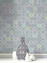 Wallpaper Portia Matt Hexagons Blue grey Pale yellow shimmer Cream Grey white shimmer Silver shimmer