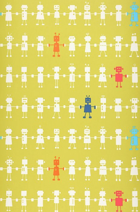 Papel pintado Mulisikel Mate Robots Verde amarillento Azul Blanco crema Naranja rojizo