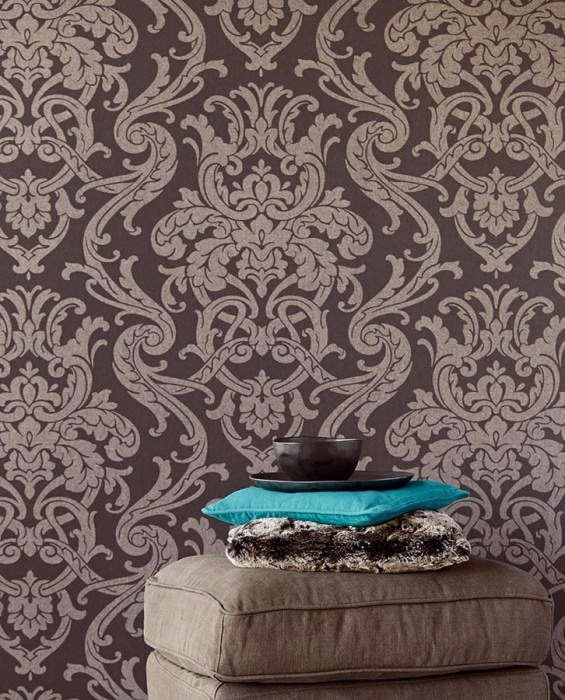 Wallpaper Maradila Shimmering pattern Matt base surface Baroque damask Anthracite Matt silver