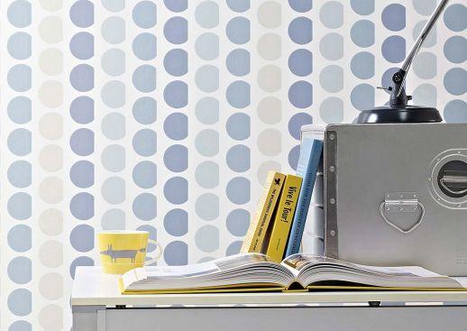 Papier peint Satis gris bleu Vue pièce