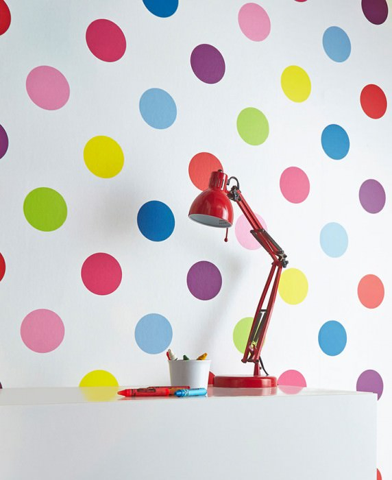 Wallpaper Teena Matt Dots White Blue Yellow Rose Red Violet