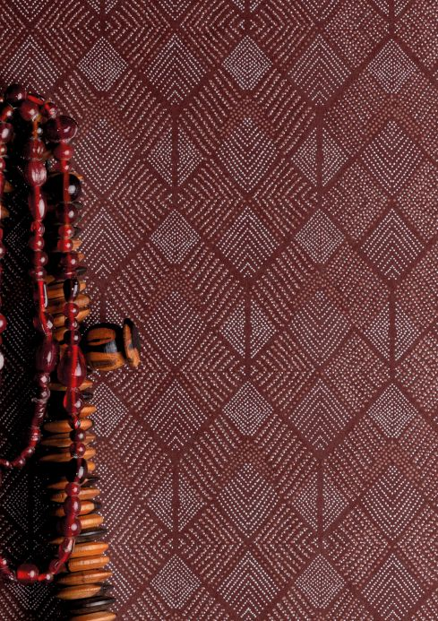 Papel pintado geométrico Papel pintado Brazilia marrón caoba Ver habitación