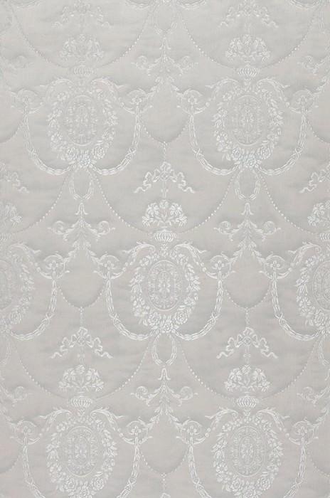 Papier peint Pogoda Chatoyant Aspect textile Damassé baroque Gris blanc Blanc gris brillant