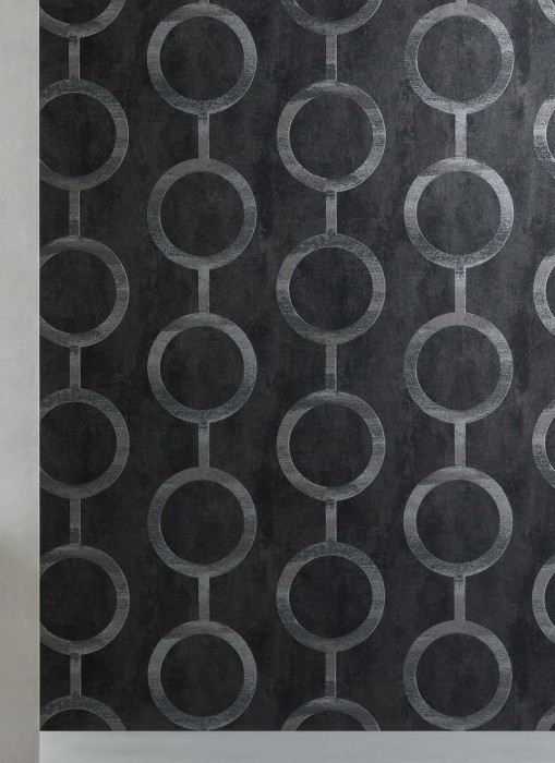 Wallpaper Florin Matt Geometrical elements Circular pattern Anthracite grey Black grey Pearl dark grey Slate grey