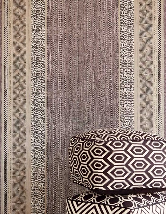 Wallpaper Cemal Matt African style Stripes Black grey Pearl light grey Silky grey
