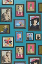 Wallpaper Silas Matt Picture frames People Turquoise pearl lustre Anthracite Blue Khaki Pink