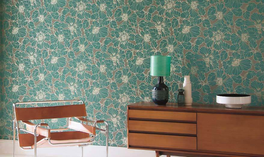 Badezimmer Tapete T?rkis : Turquoise and Orange Wallpaper