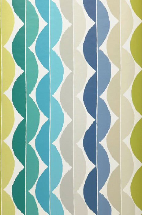 Wallpaper Esus Matt Wavy pattern Cream Agate grey Yellow green Grey beige Turquoise blue Turquoise green