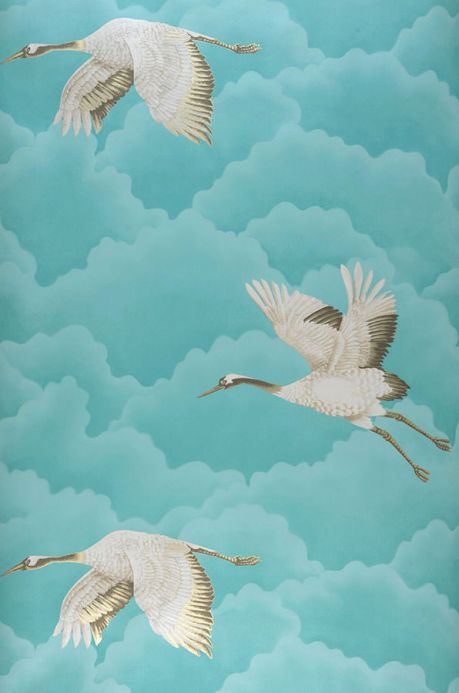 Papier peint design Papier peint Inola turquoise Largeur de lé