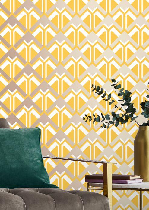 Geometric Wallpaper Wallpaper Nerea honey yellow Room View