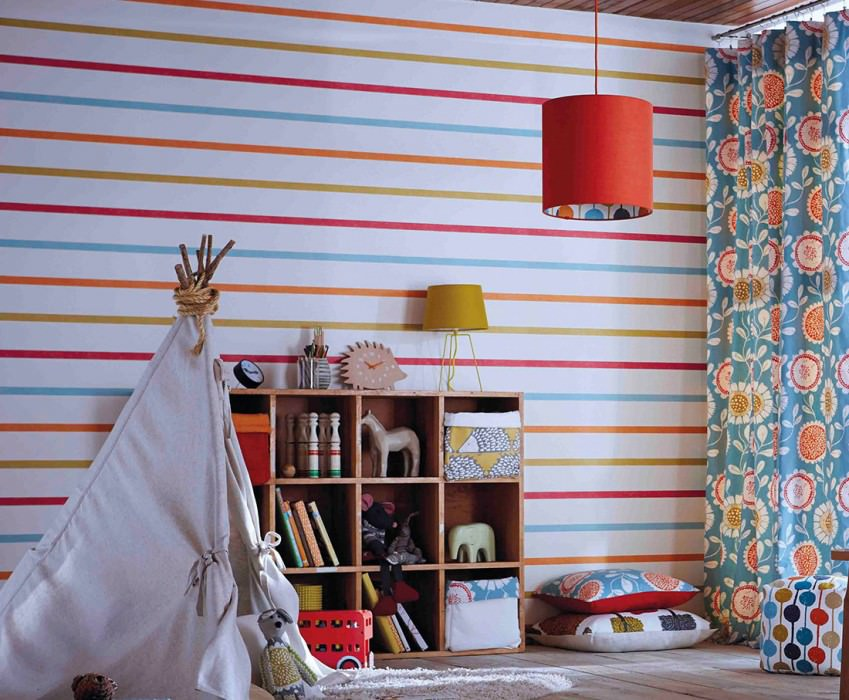 Wallpaper Sabira Matt Stripes Cream Curry yellow Raspberry red Orange Pastel turquoise