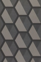 Wallpaper Hirolanit Matt Geometrical elements Hexagons Dark grey glitter Grey Light grey beige glitter Black grey