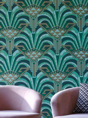 Papel pintado Tonda verde pino Ver habitación