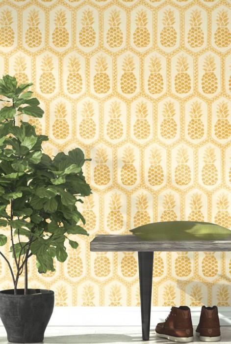 Papier peint Polly Mat Aspect textile Ananas Triangles Hexagones Blanc crème Doré brillant