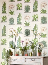 Wallpaper Coralie Matt Plants Terrarien White Beige red Grey Grey white shimmer Shades of green