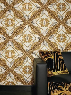 Papel pintado Vincenza tonos de marrón Ver habitación