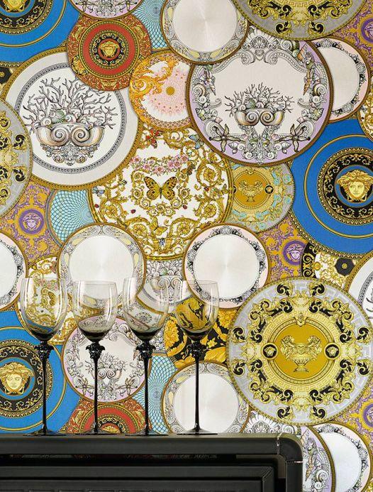Carta da parati damascata Carta da parati Noell giallo oro Visuale camera