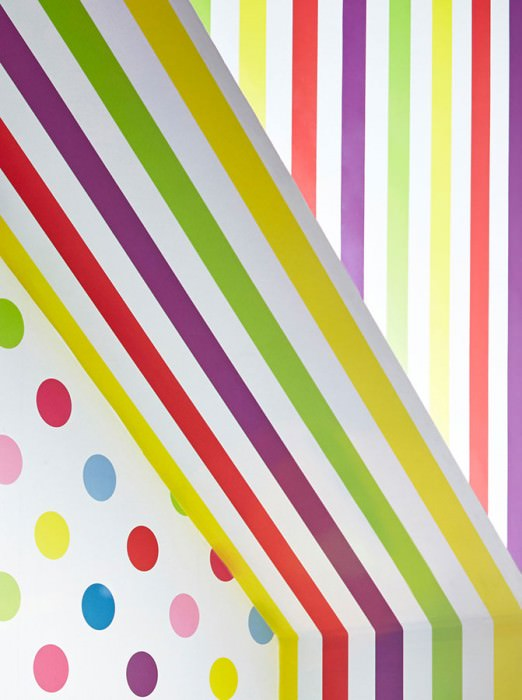 Wallpaper Zuleika Matt Stripes Yellow Yellow green Red Violet White