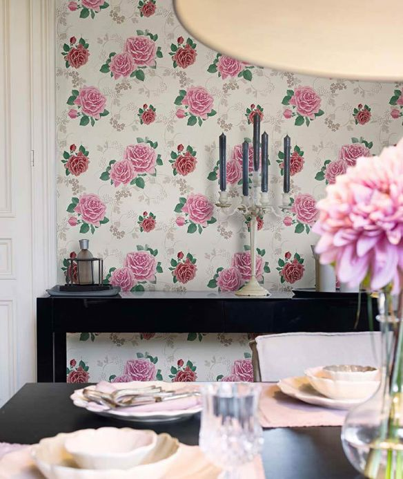Archiv Wallpaper Isotta pale red violet Room View