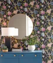 Wallpaper Sloana Hand printed look Matt Birds Branches with leaves and blossoms Umbra grey Azure blue Beige red Grey beige Green beige Rose