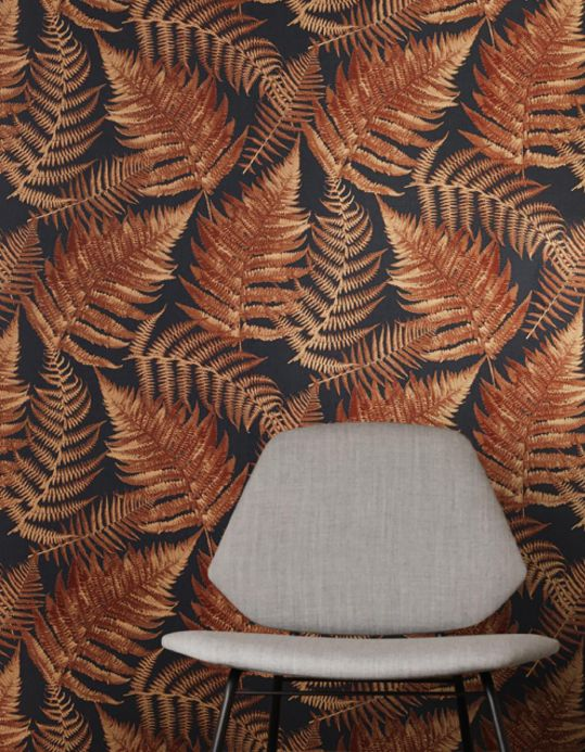 Botanical Wallpaper Wallpaper Franka chestnut brown Room View