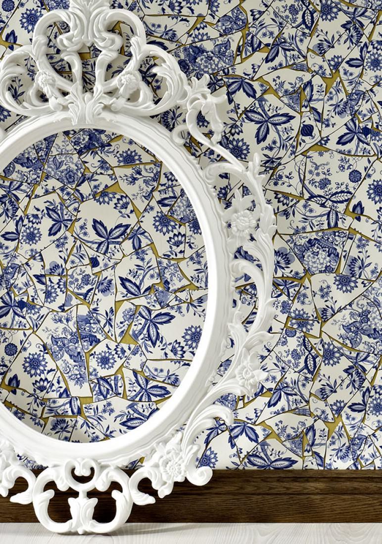 Tapete broken china perlgold saphirblau taubenblau - Tapete taubenblau ...